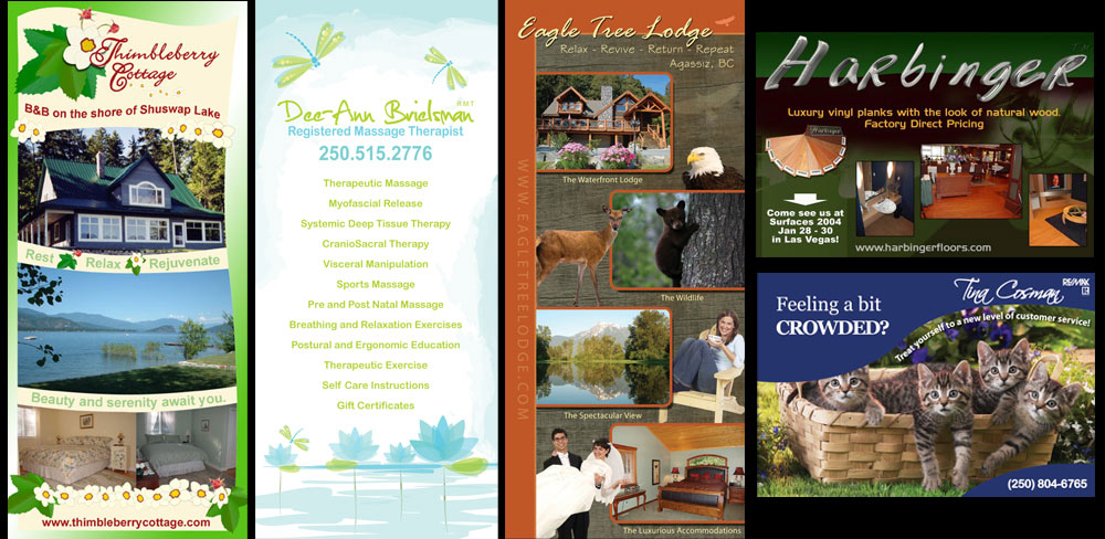 Post Cards and Rack Cards, Design, Printing, Shuswap, Okanagan, Enderby