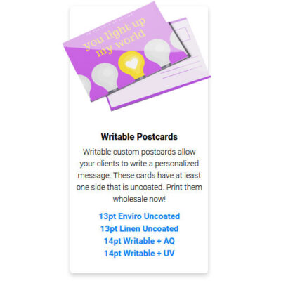 Writable Postcards, design, printing, Moose Jaw
